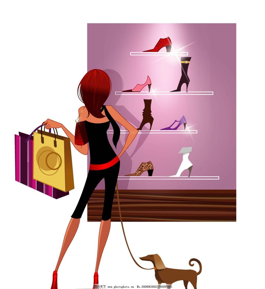 时尚购物女 时尚 都市女子 购物 鞋柜 宠物狗 矢量人物 妇女女性 矢量